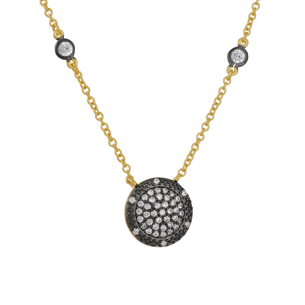 FREIDA ROTHMAN - Pave Reverse Time Square Necklace in Black and Gold Vermeil