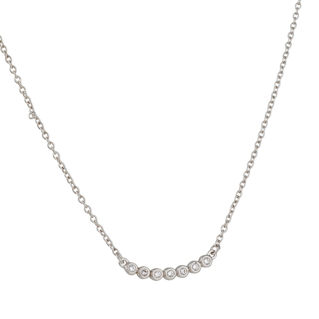 FREIDA ROTHMAN - Small Bezels Bar Necklace with Swarovski Crystals, Rhodium Plated