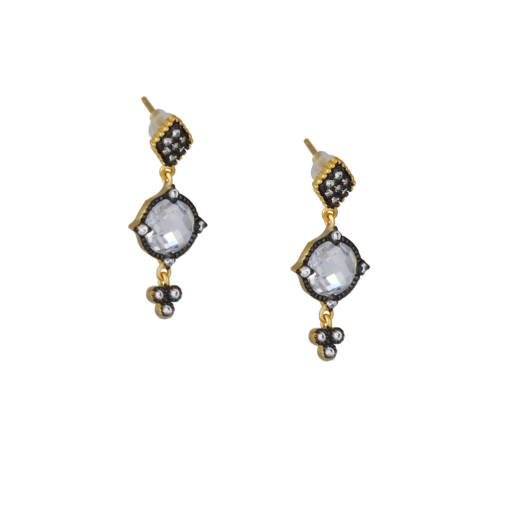 FREIDA ROTHMAN - Small Crystal Mirror Drop Earrings in Black and Gold Vermeil