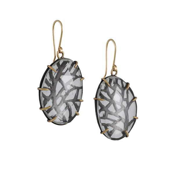 Hannah Bount - Branch Pierced Quartz Earrings