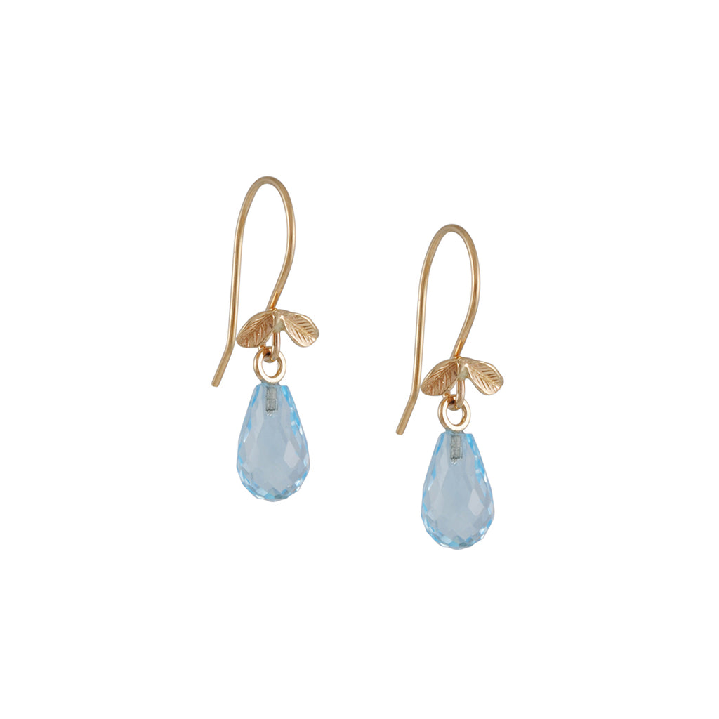 JAMIE JOSEPH - Faceted Blue Topaz Briolette Drop Earrings With 14K Gold