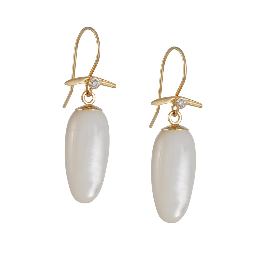 JAMIE JOSEPH - Mother of Pearl Drop Earrings with Diamonds in 14K Gold