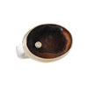 JAMIE JOSEPH - Oval Chocolate Drusy Ring with Diamond Beauty Mark, Size 8