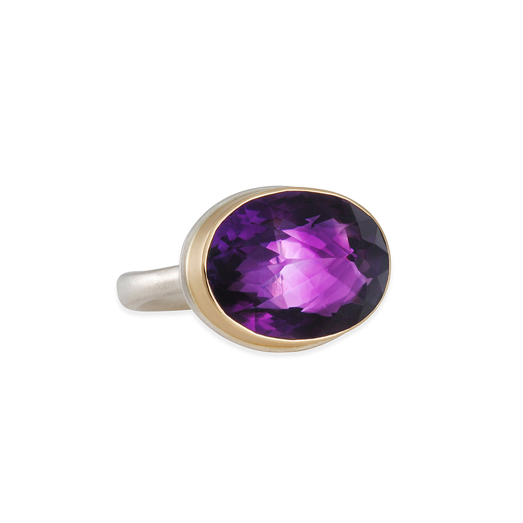 Jamie Joseph - Oval Faceted Amethyst Ring