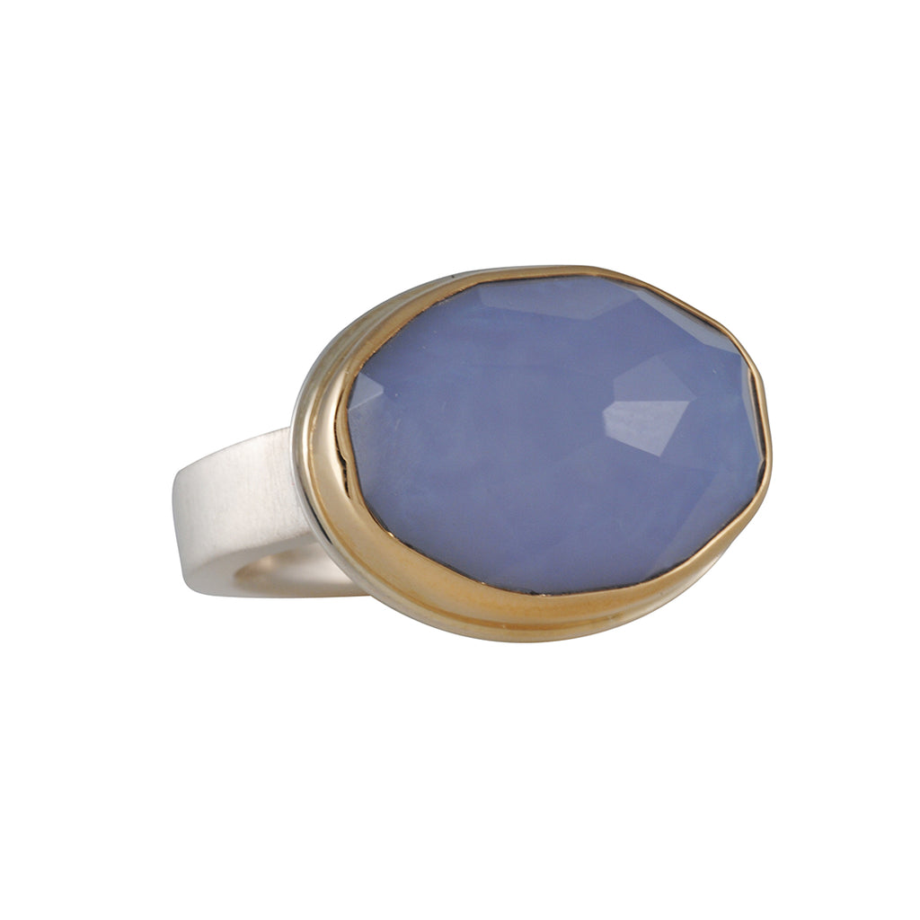JAMIE JOSEPH - Oval Lavender Chalcedony Ring, Size 6.75