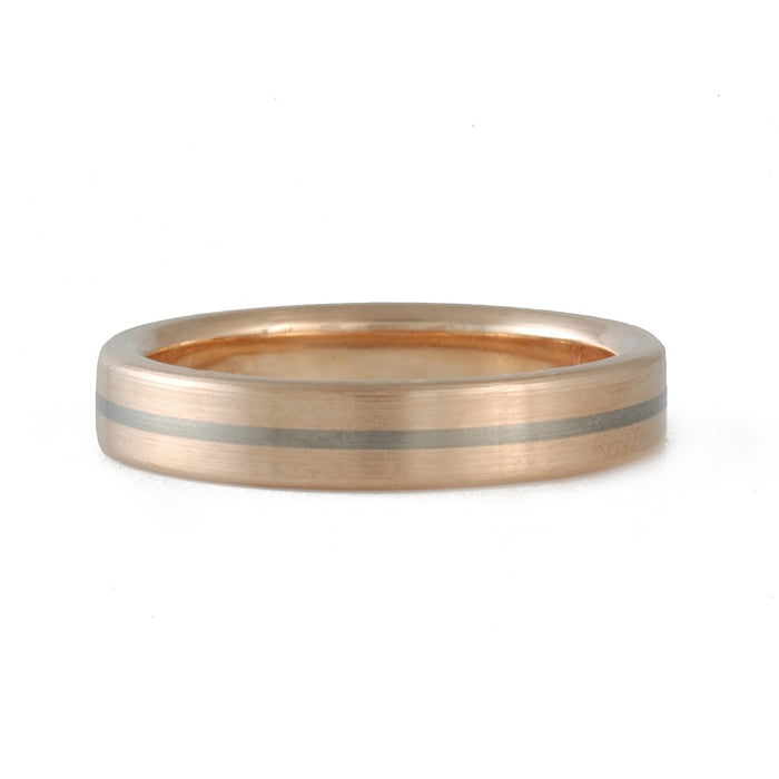 JERRY SPAULDING- Classic Rose Gold Band with Small Stripe