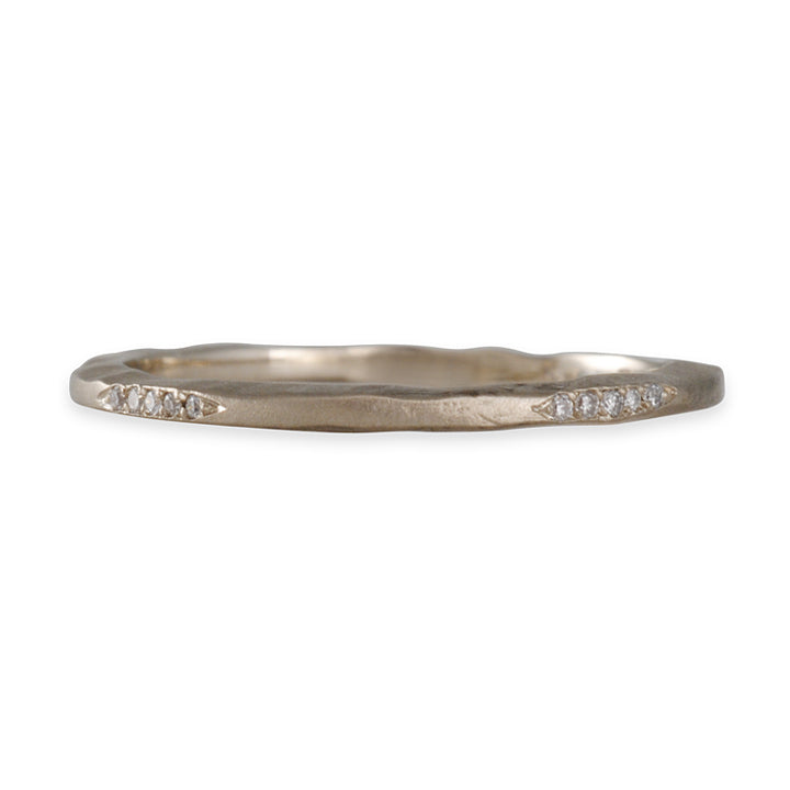 SOFIA KAMAN- White Gold Textured Pave Stacking Band