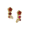 KATIE DIAMOND - Ezra Ear Climbers in Vermeil with Garnet and Moonstone