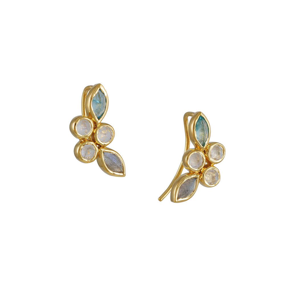 KATIE DIAMOND - Margie Ear Climbers in Vermeil with Moonstone, Apatite and Labradorite