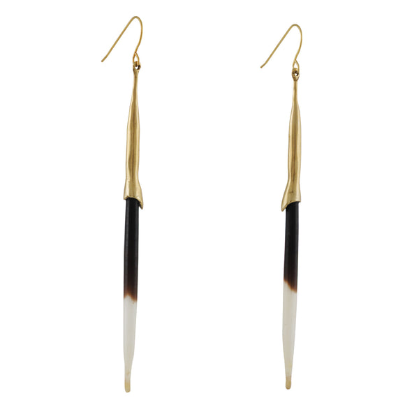 K/LLER - Porcupine Quill Earrings in Brass