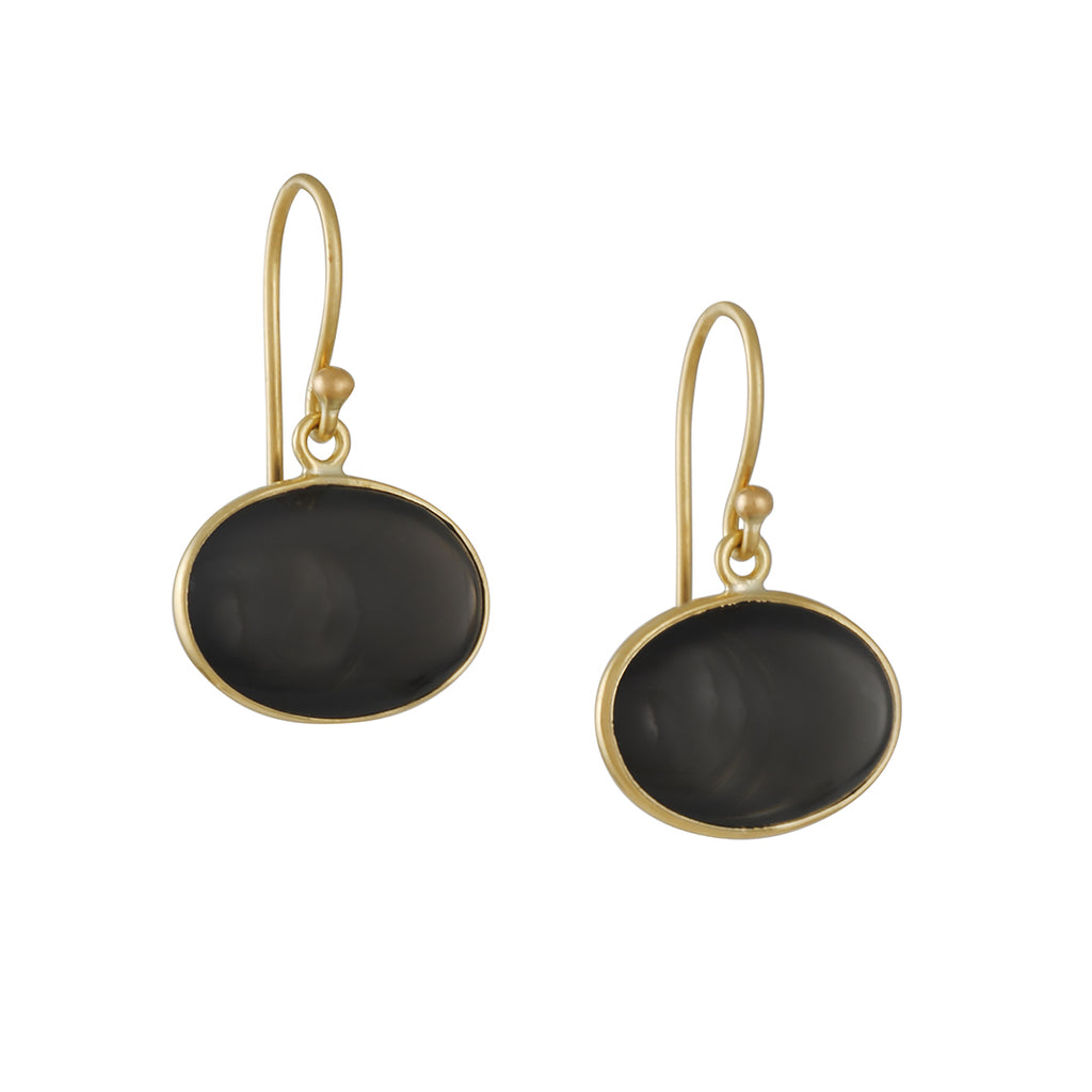KOTHARI - Black Moonstone Oval Earrings in 18K Gold