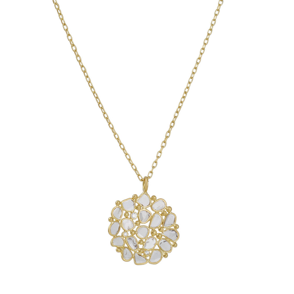 KOTHARI- Concave Diamond Cup Necklace in 18k