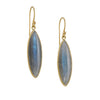 KOTHARI - Elongated Labradorite Marquise Earrings in 18K Gold
