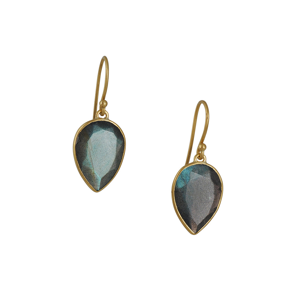 Kothari - Inverted Teardrop Labradorite Earrings