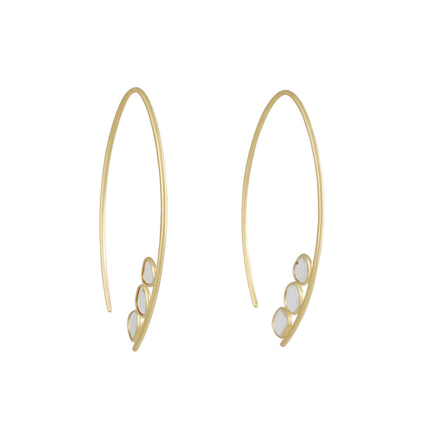 Kothari - Polki Umbra Hoops with Diamonds