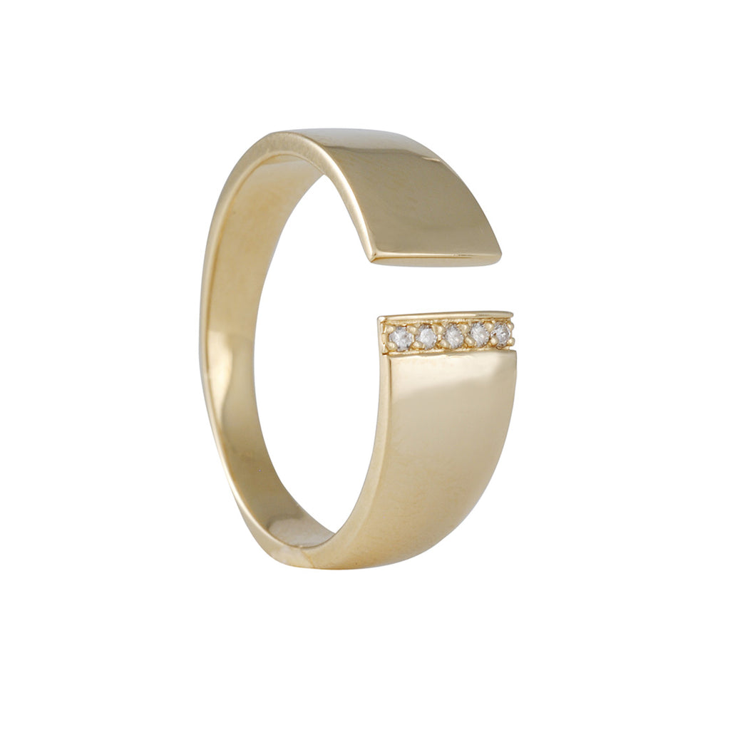 KRISTEN ELSPETH - Pave Split Myth Ring in 14k - Size 6