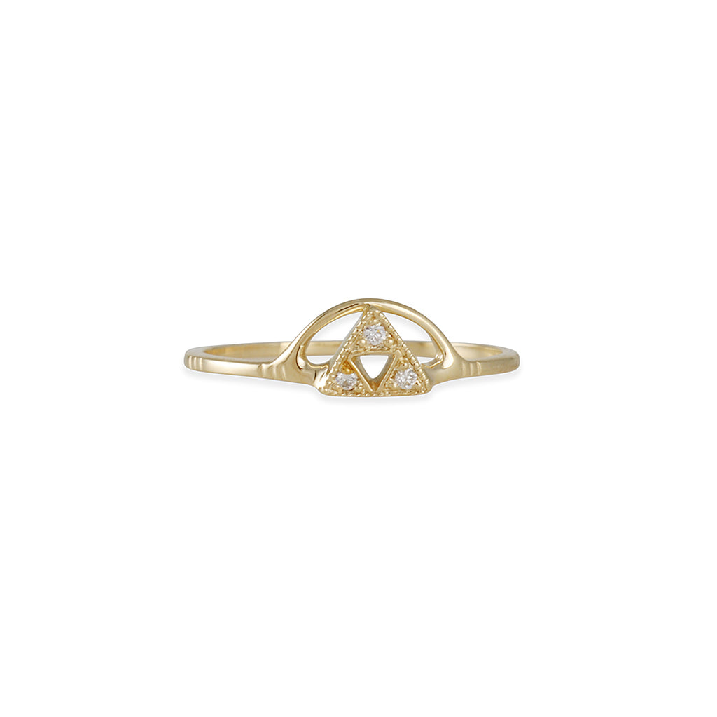 LIO & LINN - 14K Gold Triangle Sun Ring, Size 6