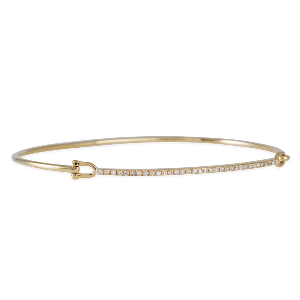 LIVEN CO. - 14K Gold Hinged Bar Bracelet with White Diamond Pave