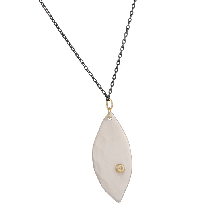 SARAH MCGUIRE- Small Diamond Petal Necklace in Sterling Silver & 18KY Gold