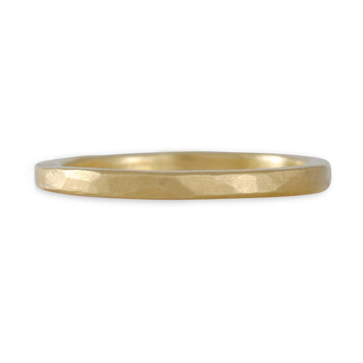 SARAH MCGUIRE- Thin Hammered Band in Yellow Gold