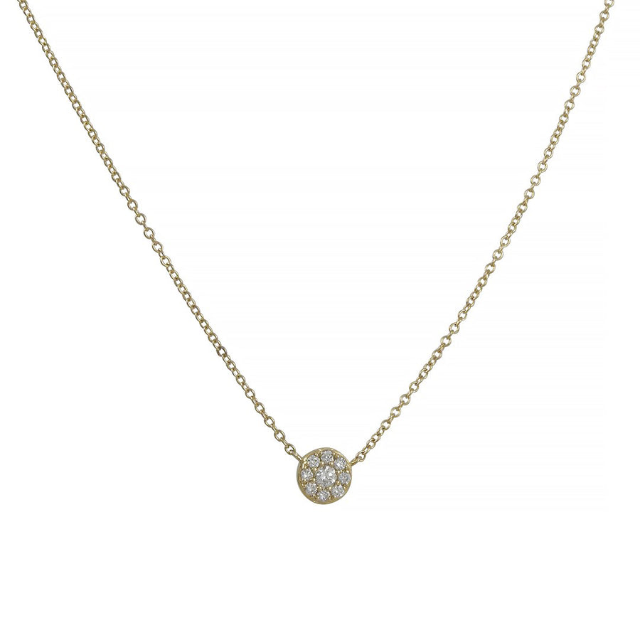 CP Collection - Mini Pave Halo Necklace in 14K Gold