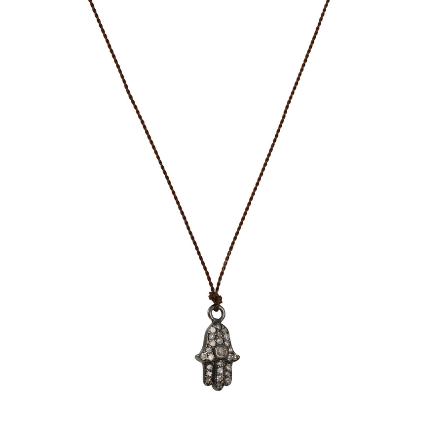 Margaret Solow - Pave Diamond Hamsa Necklace
