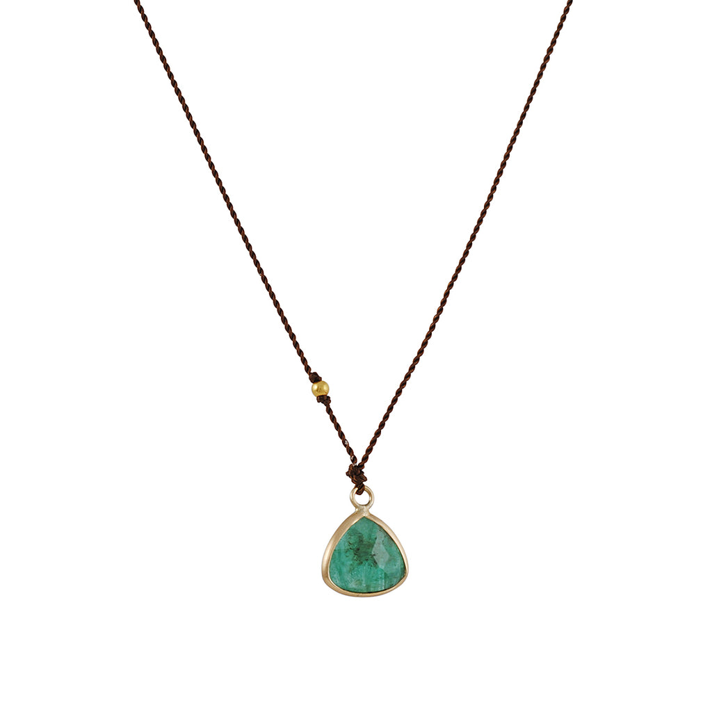 Margaret Solow - Triangle Emerald Bezel Necklace