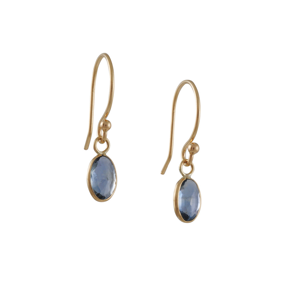 MARGARET SOLOW - Delicate Faceted Sapphire 14K Gold Drop Earrings