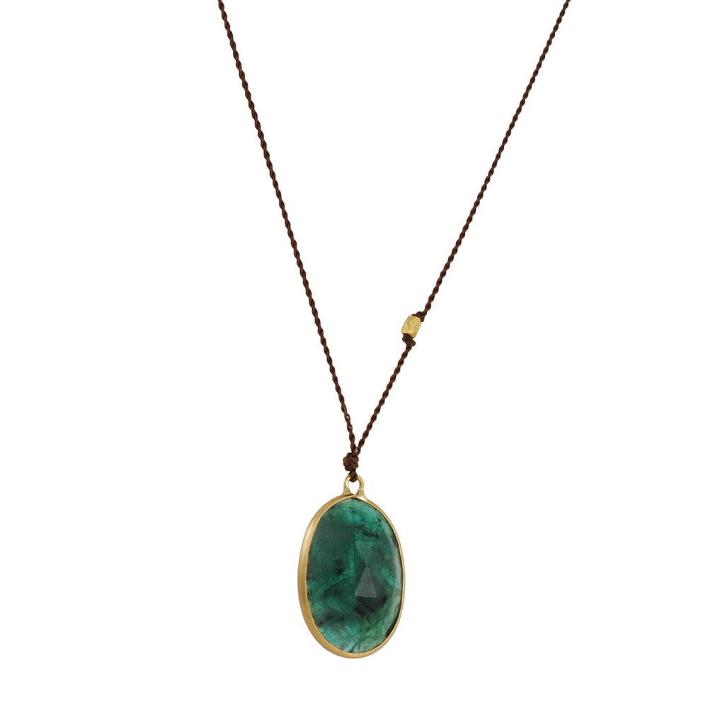 MARGARET SOLOW - Faceted Oval Emerald 18K Gold Necklace, 17""