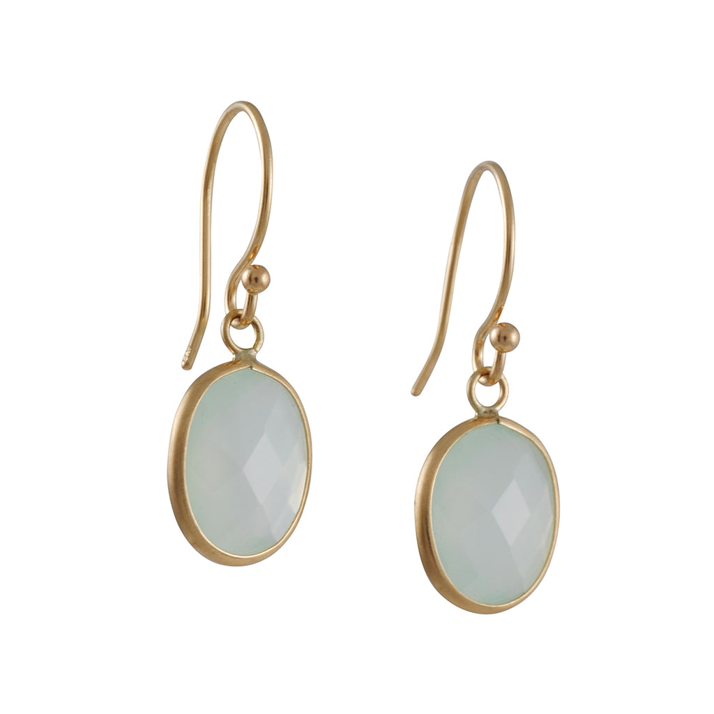 MARGARET SOLOW - Faceted Pale Green Chalcedony Drop Earrings 14K Gold
