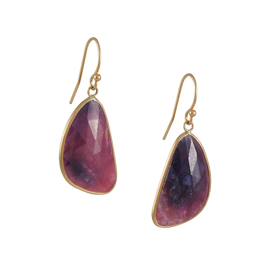 MARGARET SOLOW - Large Faceted Raw Red Sapphire 14k Yellow Gold Earrings