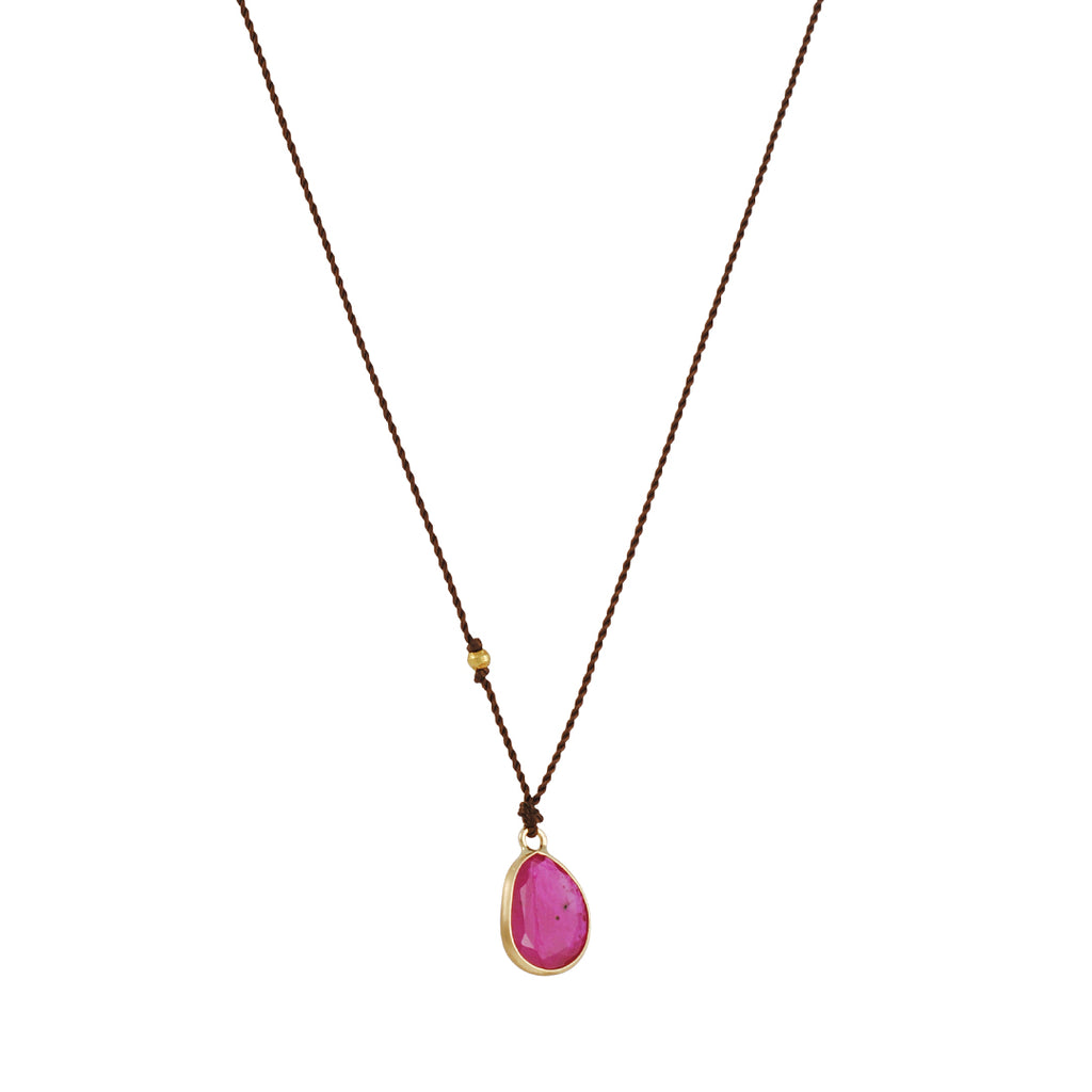 Margaret Solow - Organic Faceted Ruby 18K Gold Necklace, 16""