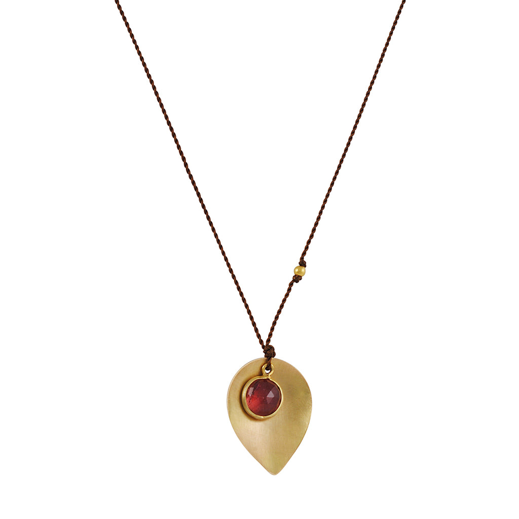 MARGARET SOLOW - Pink Tourmaline and 18K Yellow Gold Leaf Pendant Necklace, 18""