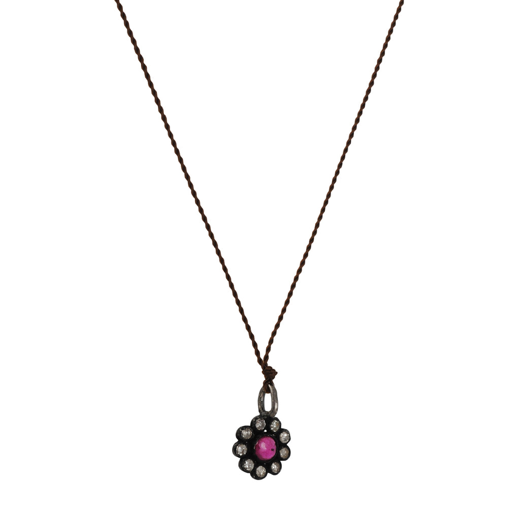 Margaret Solow - Mini Ruby and Diamond Flower Necklace, 16""