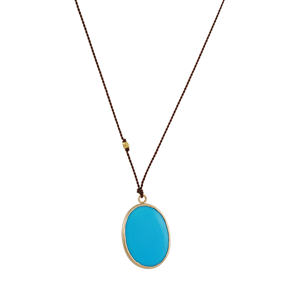 MARGARET SOLOW - Sleeping Beauty Turquoise Cabachon Pendant Necklace, 18""