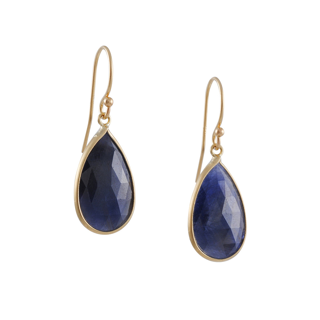 MARGARET SOLOW - Small Blue Sapphire Earrings