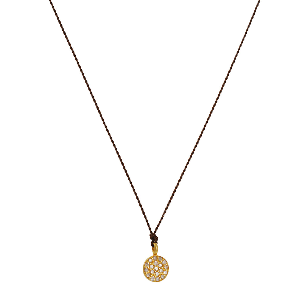 MARGARET SOLOW - Small Pave Diamond Disc 14K Yellow Gold Necklace, 16""