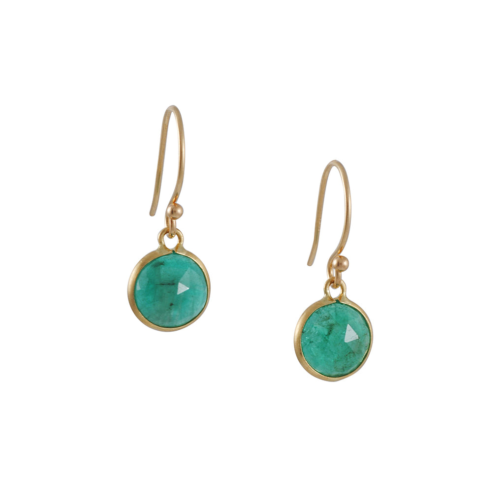 MARGARET SOLOW - Small Round Emerald Earrings