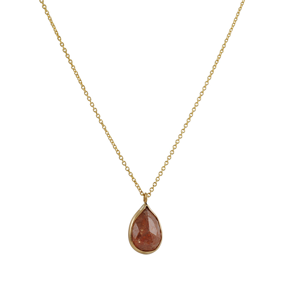 Margaret Solow - Teardrop Red Raw Diamond Necklace