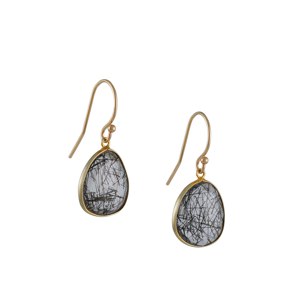 MARGARET SOLOW - Tourmalinated Quartz Drop Earrings in 14K Gold