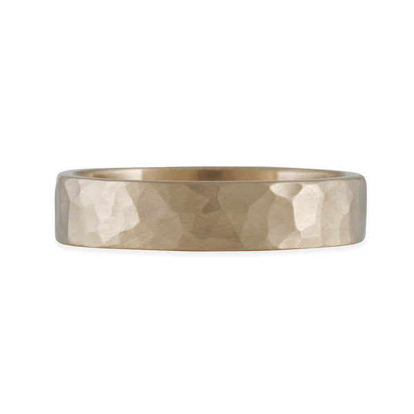 MARIAN MAURER- 5MM Flat Hammered Band in 18K White Gold