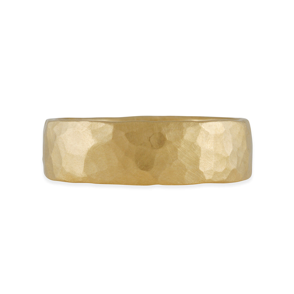 MARIAN MAURER- 6.24MM Hammered Rounded Square Band in 18K Gold