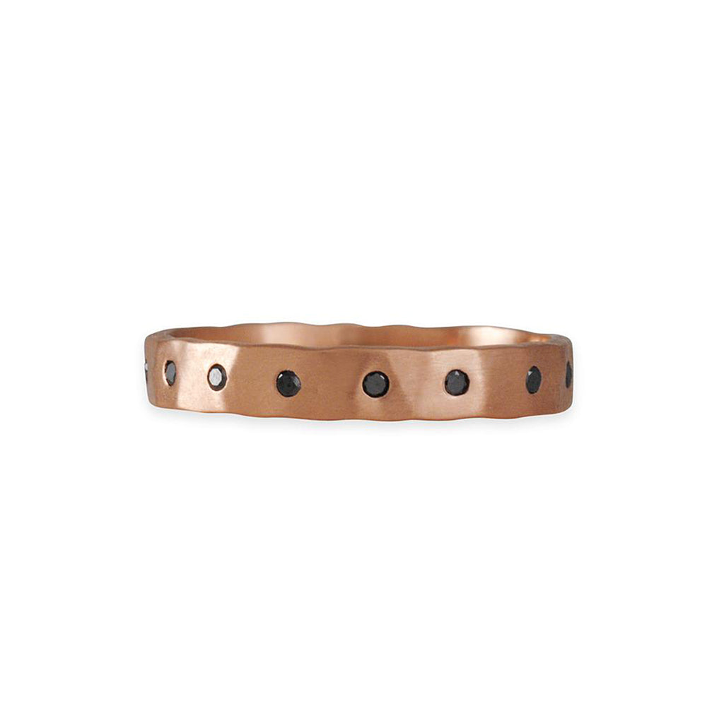 SARAH MCGUIRE- Hammered Flat Band in Rose Gold with Black Diamonds