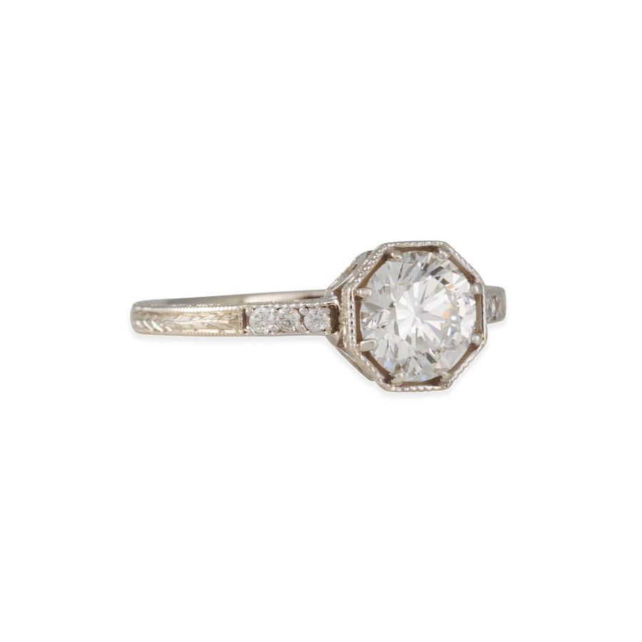 Lori Mclean x Diamond Foundry - Engraved Octagon Solitaire