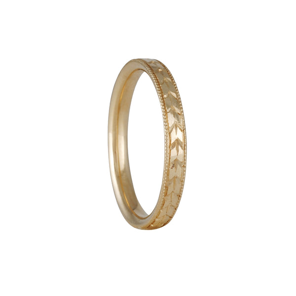 LORI MCLEAN- 3mm Engraved Laurel Band