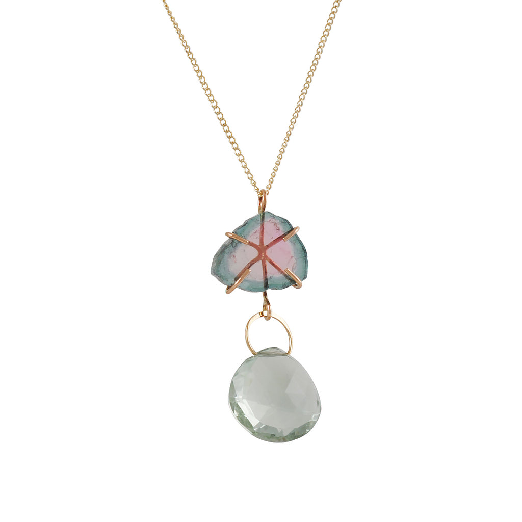 MELISSA JOY MANNING - Watermelon Tourmaline and Green Amethyst Drop Necklace