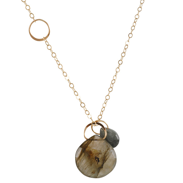 MELISSA JOY MANNING- 2 Stone Necklace with Labradorite and Cats Eye Briolettes