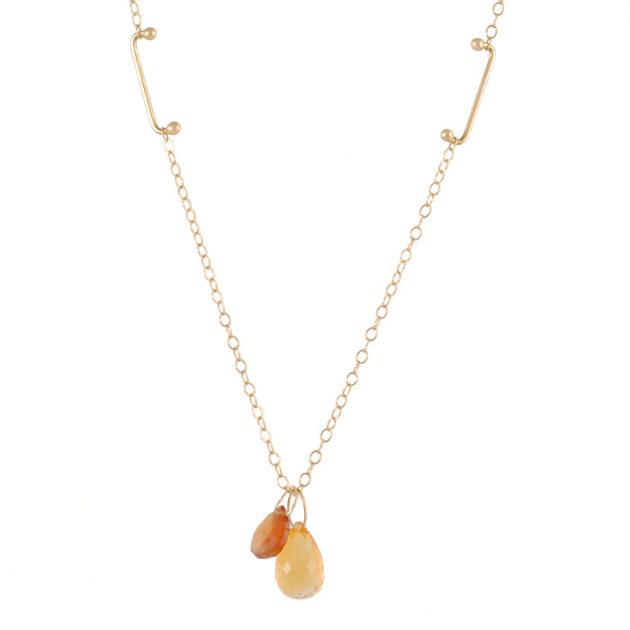 MELISSA JOY MANNING - Double Briolette Pendant in Citrine and Carnelian