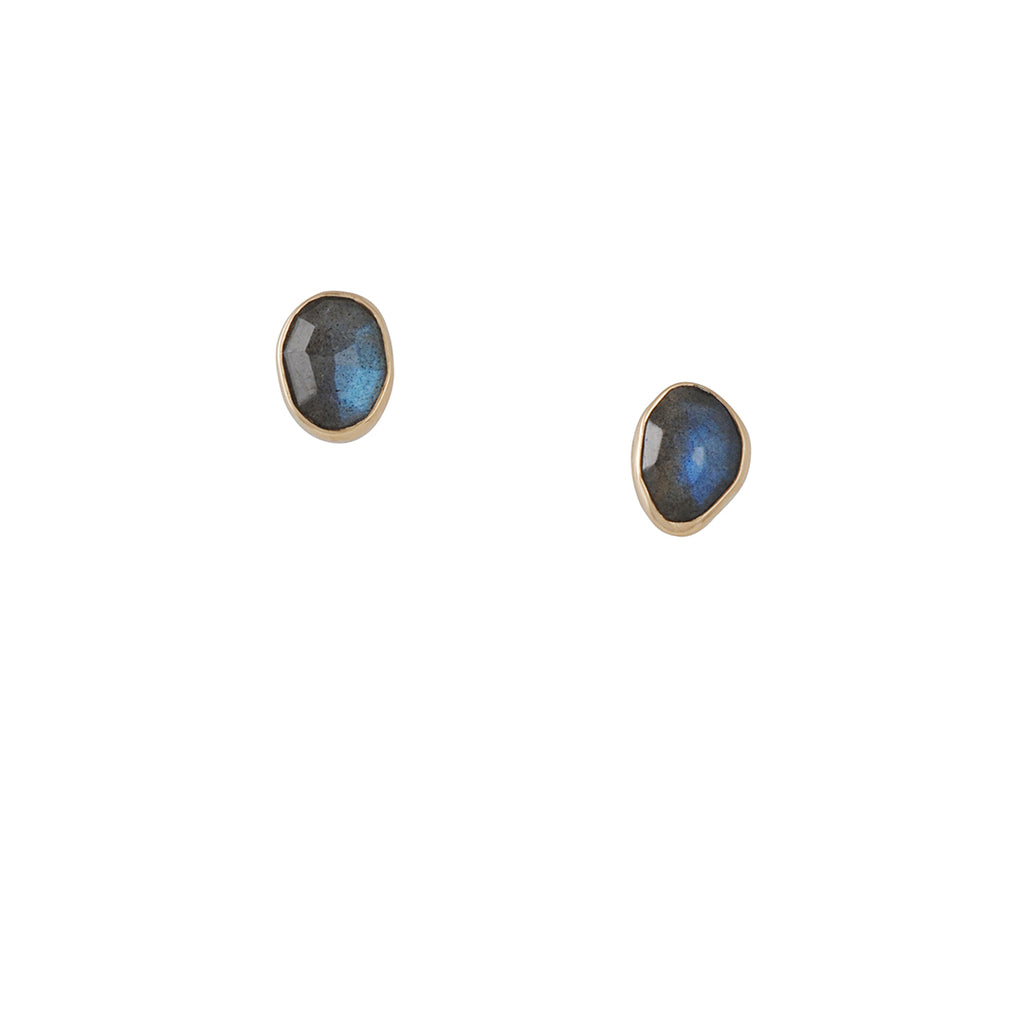 MELISSA JOY MANNING - Freeform Bezel Set Labradorite Stud Earrings in 14ky