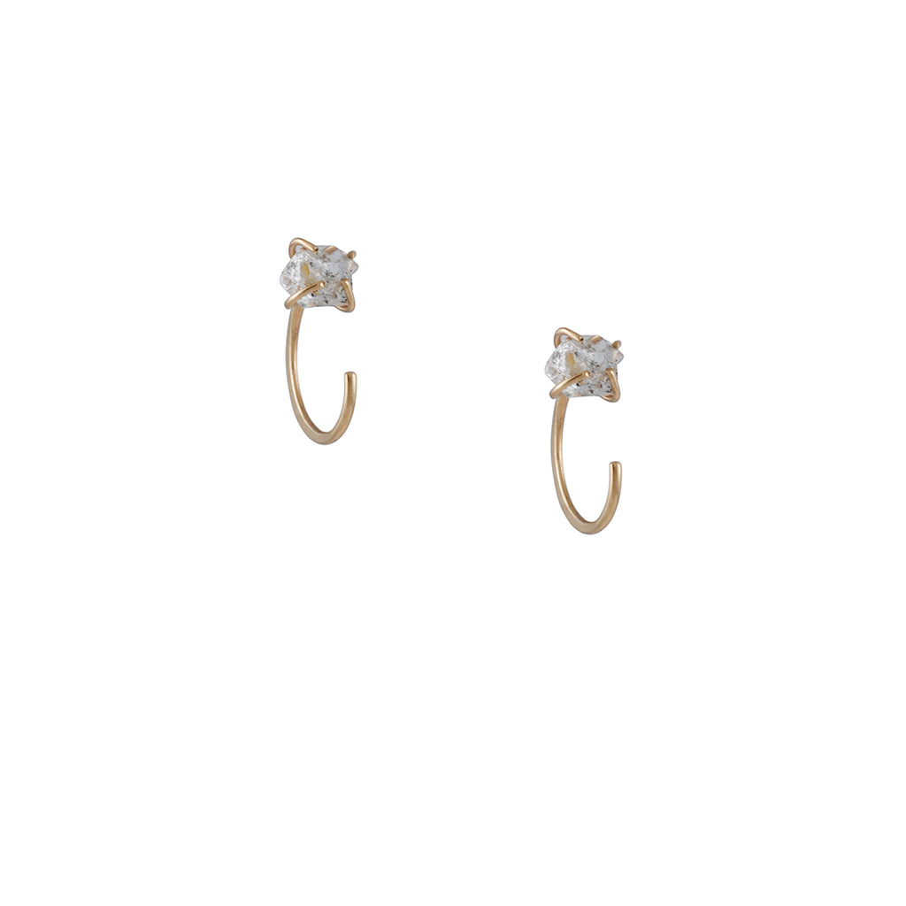 Melissa Joy Manning - Huggie Hoops with Golden Quartz